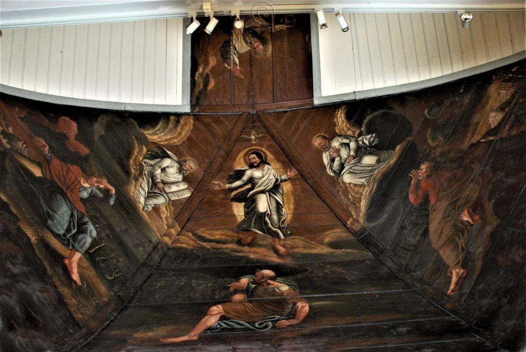 """Chorgemälde, Deckengemälde im Altarraum """"Die Verklärung Christi"""". Matthäus 17, 1-6"""
